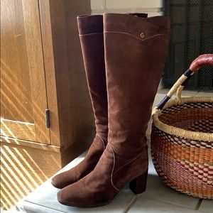 Vintage GUCCI Boho High Boots Brown Suede 39.5